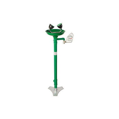 Ducha Lava-ojos con doble mando, rociador y recogedor en plástico ABS