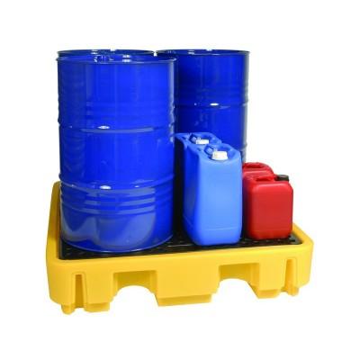 Cubeto de retención en polietileno para 4 bidones de 220 litros