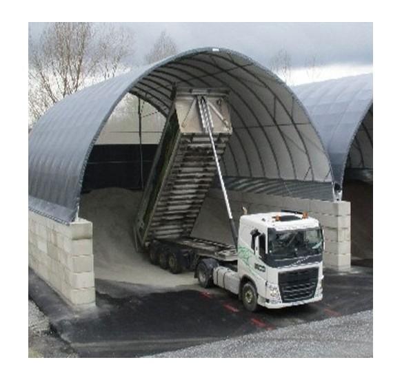 Túnel de 12x26x6,45m de alto sobre murete de hormigón