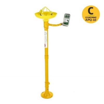 Lava-ojos de pie vertical sobre piedestal plástico en ABS amarillo