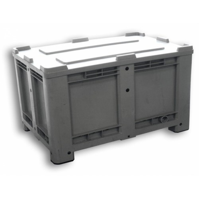 Coffre en PEHD avec couvercle et roulettes opcionnelles de 520 litres