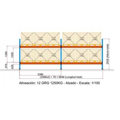 Cubeto de retención de polietileno para 2 GRG's de 1.000 litros