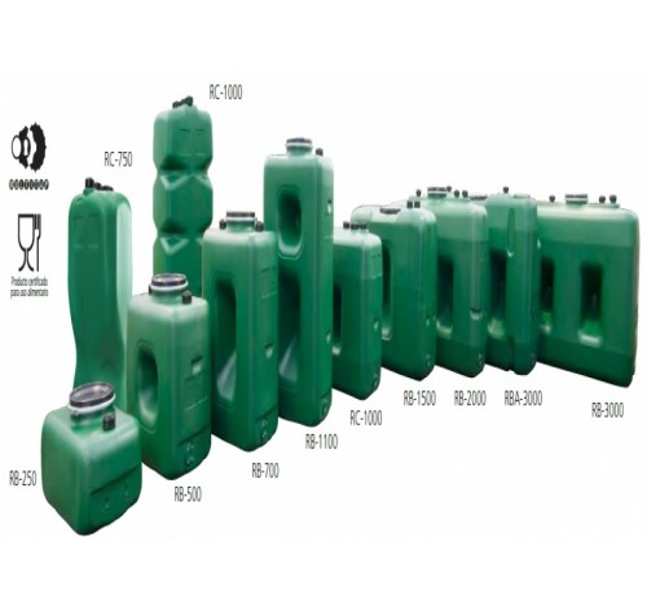 Depósito para almacenamiento de agua potable de 1.000 litros. Compacto