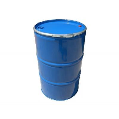 Bidón metálico de 200 L reutilizado, con tapa y cierre ballesta para residuos. Homologado ADR