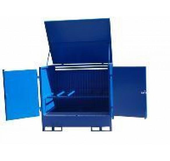 Caseta de almacenamiento de acero para 2 bidones en horizontal